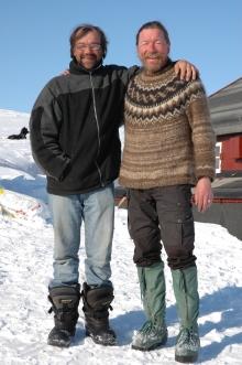 """Scoresby """"Innuuta"""" Hammeken and Peter at Ella Ø, April 2008"""
